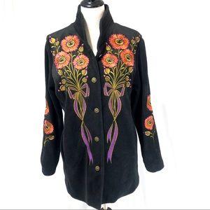 OMG! Bob Mackie Embroidered Fleece Jackets Sm & 1X